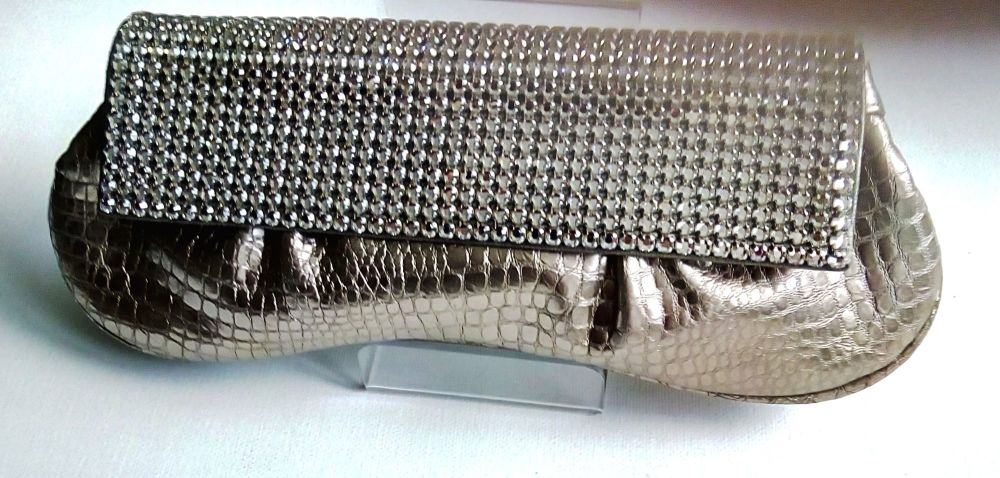 Gina London leather snakeskin clutch bag light pewter encrusted crystals