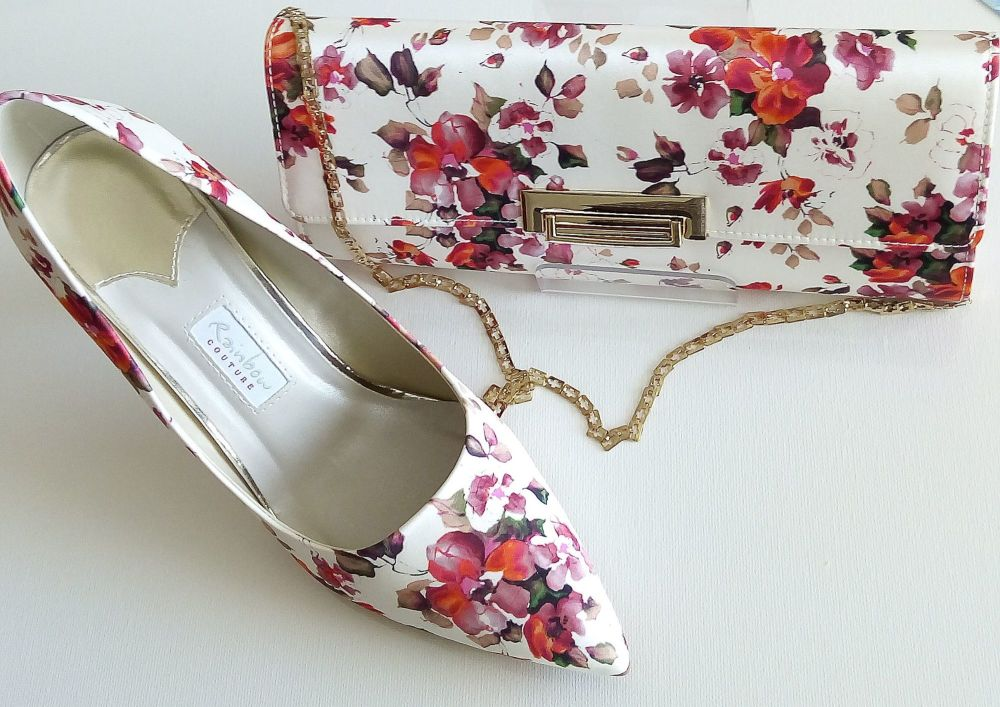 Rainbow Couture stunning occasions satin red flowers design shoes matching bag size 5 and 7.5