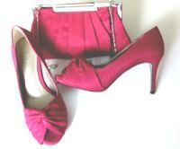Jacques Vert cerise pink shoes  matching  bag  size 6