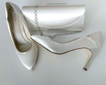 Rainbow Club Ivory wedding mother bride shoes matching bag size 6