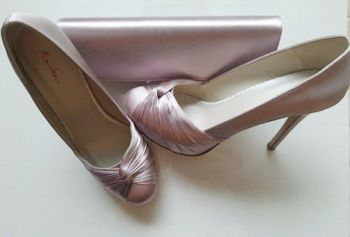 Rainbow Club satin shell pink court shoes and matching bag size 4