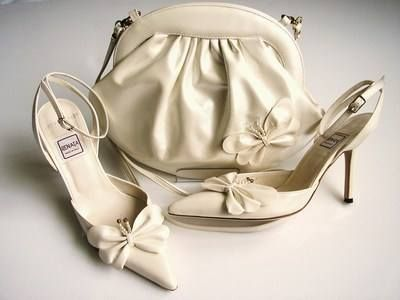 Renata pearlized ivory shoes and matching bag