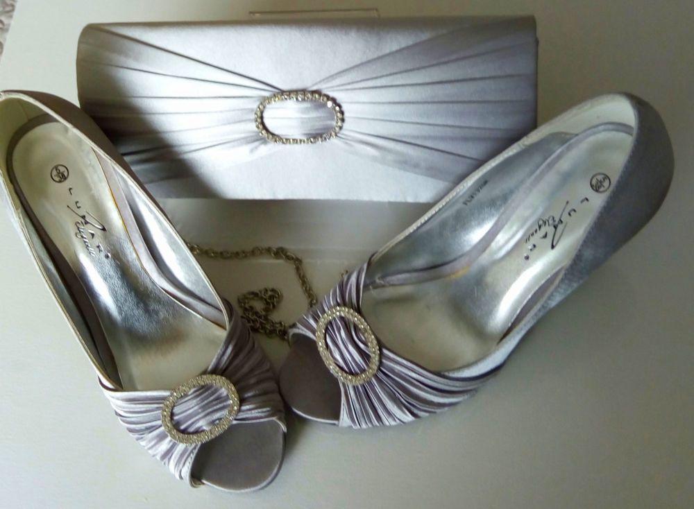 Lunar satin grey peeptoe shoes  with matching bag size 5