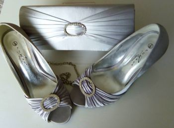 Lunar satin grey peeptoe shoes  with matching bag size 5