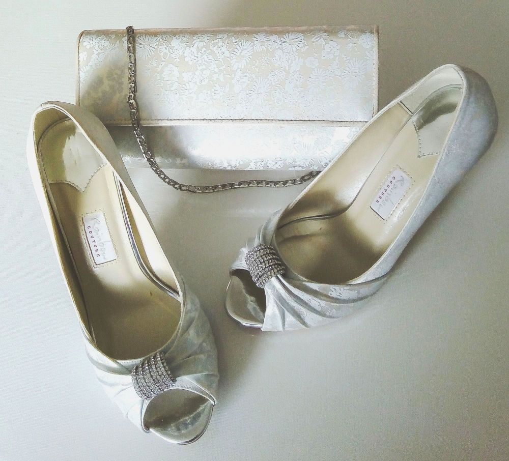 Rainbow Couture ivory satin pale blue contrast floral shoes Diamanté scroll  matching bag size 5