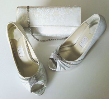 Rainbow Couture ivory satin  floral  shoes matching bag Diamanté scroll size 5