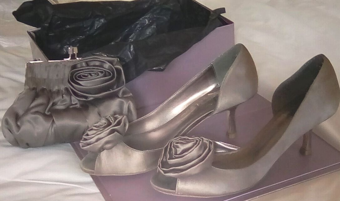 Coast taupe satin occasion shoes rose feature matching bag size 6