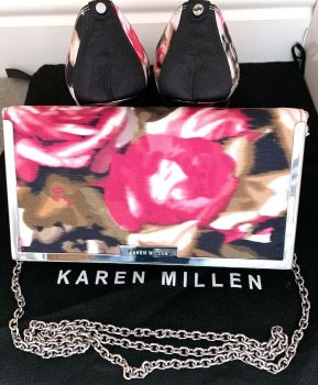 Karen Millen  special occasion floral peeptoe shoes  matching Bag  size 7 pre loved