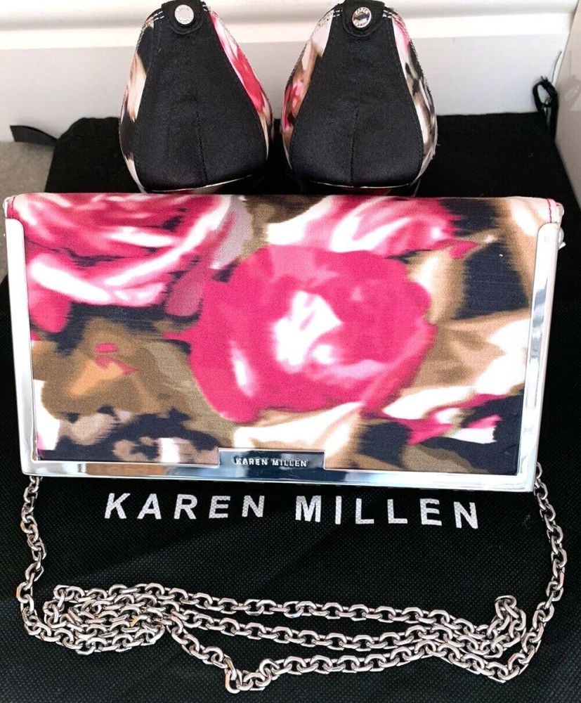 Karen Millen  special occasion floral peeptoe shoes  matching Bag  size 7