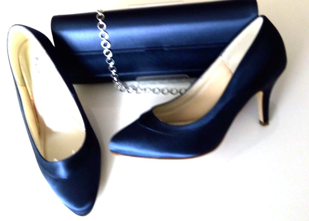 Rainbow Club Nicole satin occasions navy court shoes matching bag size 4.5
