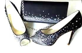 Rainbow Couture occasions black satin studded crystals peeptoe heels matching bag size 6