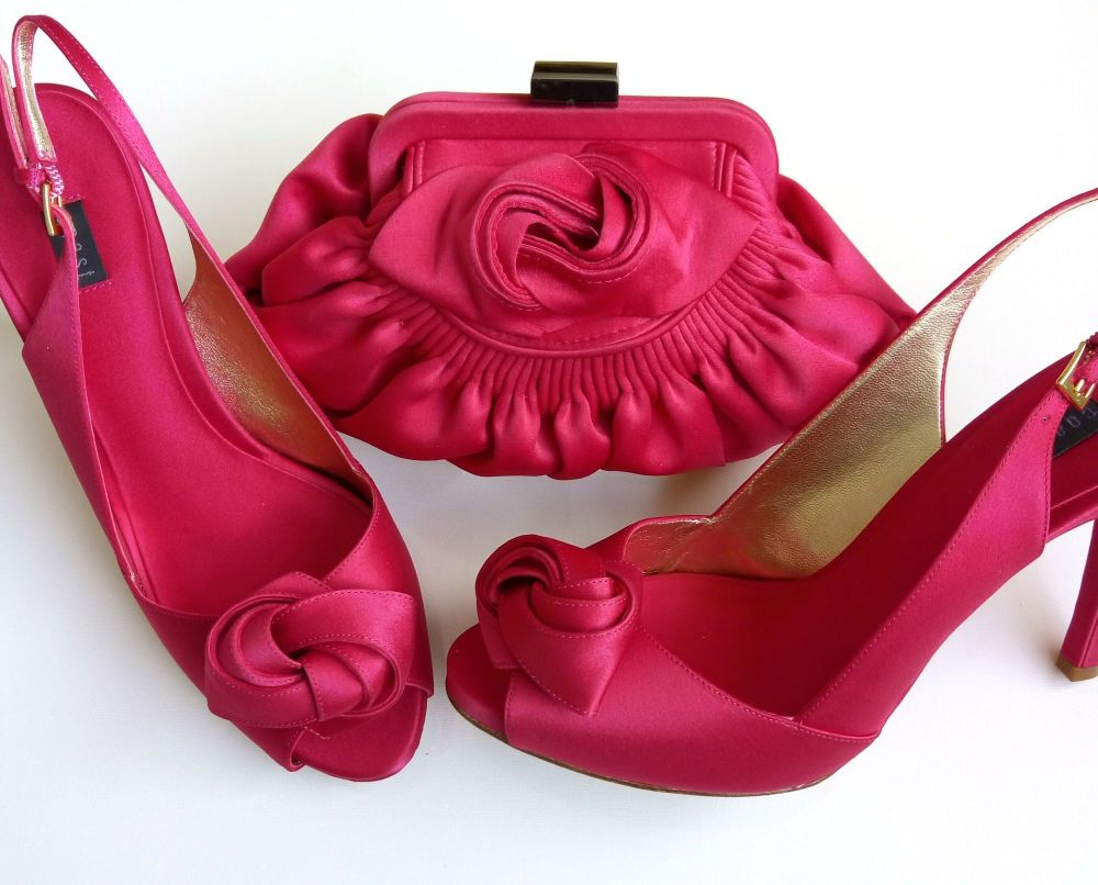Coast special occasion satin shoes matching bag hot pink rose feature size 6