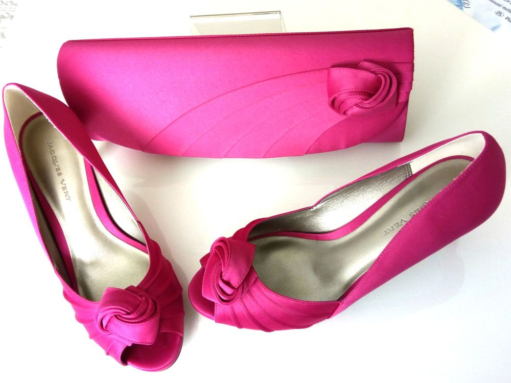 Jacques Vert Cerise satin mother bride peep toe shoes matching bag size 6
