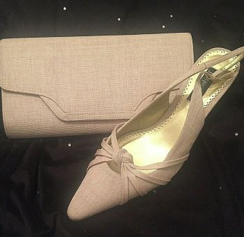 Jacques Vert beige canvas fabric sling back shoes with matching bag size 7