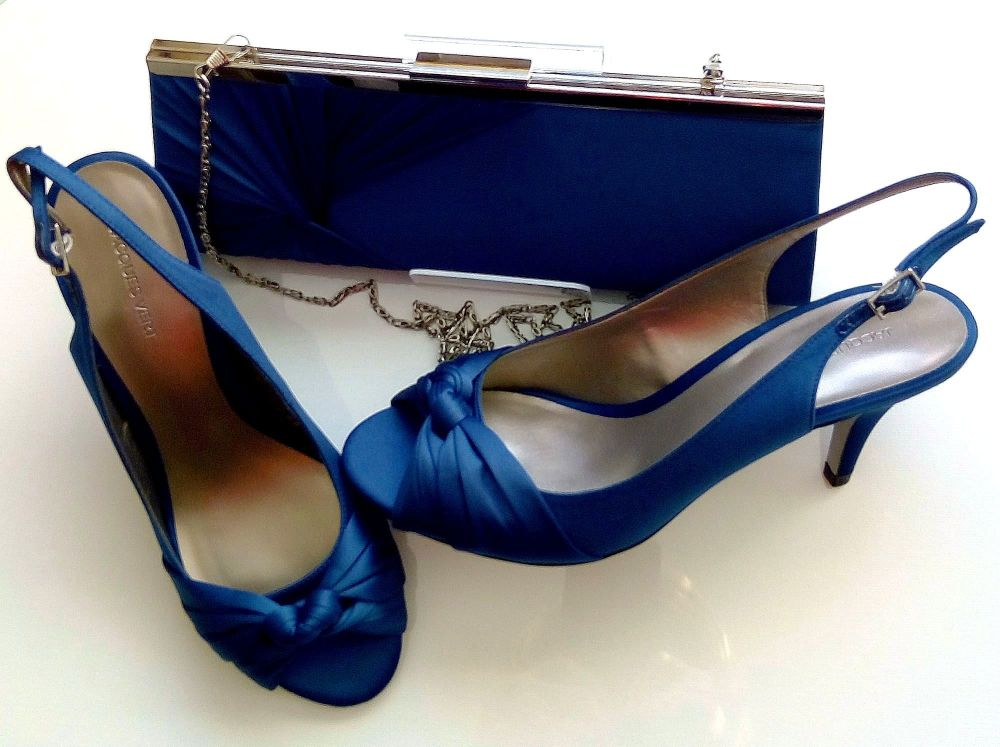 Jacques Vert satin shoes petrol blue knot detail matching bag size 7