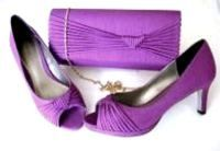 Jacques Vert occasions purple Magenta pleat shoes matching bag  size 6