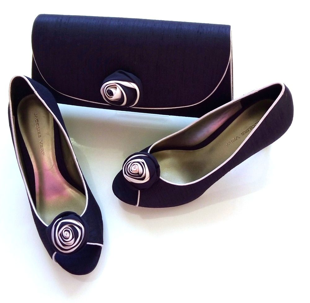 Jacques Vert deep purple peeptoe rosebud shoes matching bag  size 4 also si