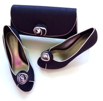 Jacques Vert deep purple peeptoe rosebud shoes matching bag  size 4 also size 5