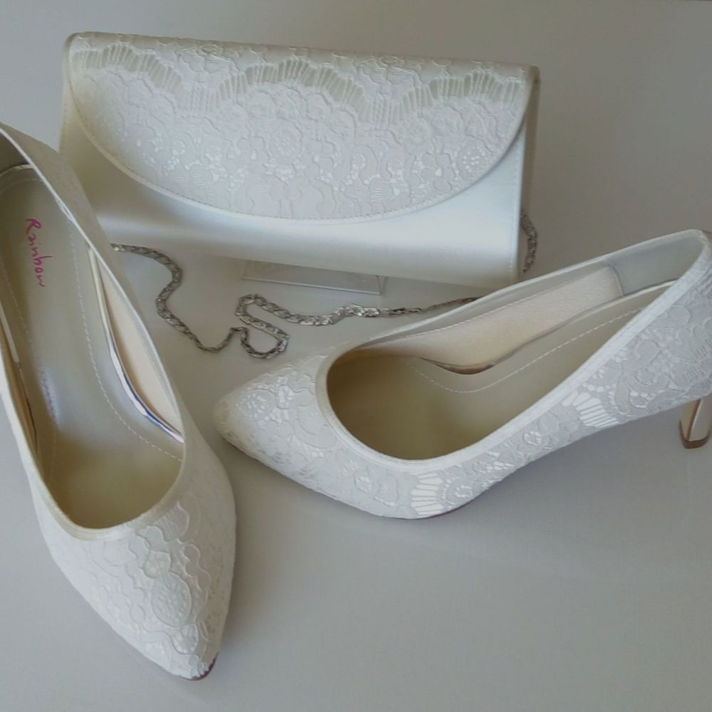 Rainbow Club mother bride Alexis ivory lace satin shoes matching bag size 5.5