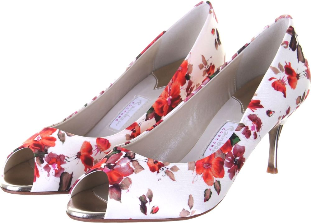 Rainbow Couture Cleo floral satin peeptoe gold heel size 5.5