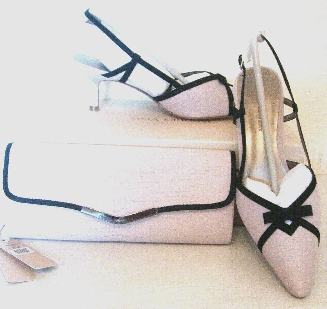 Jacques Vert ivory-champagne slingback shoes matching bag size 7