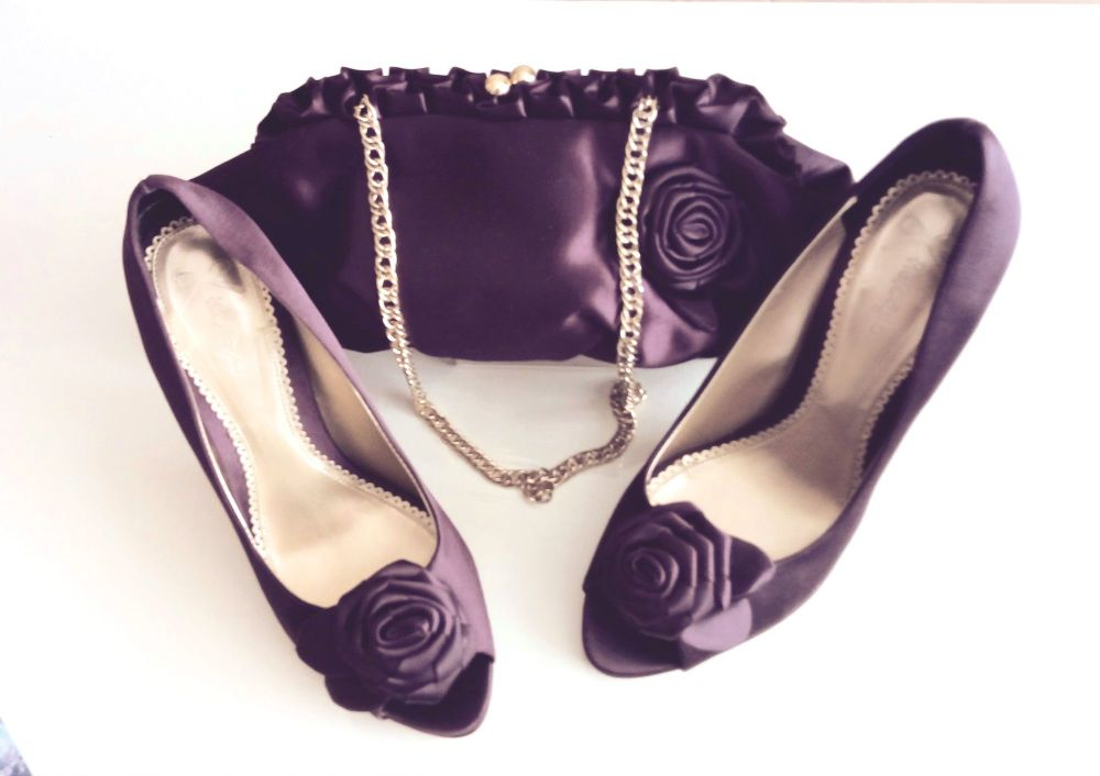 Phase eight purple satin shoes matching clutch bag mother bride size 4