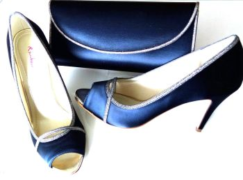 Rainbow Club navy satin with shimmer mother bride shoes matching bag size 6