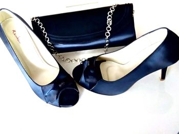 Rainbow Club occasions shoes matching bag in navy satin  size 7-7.5