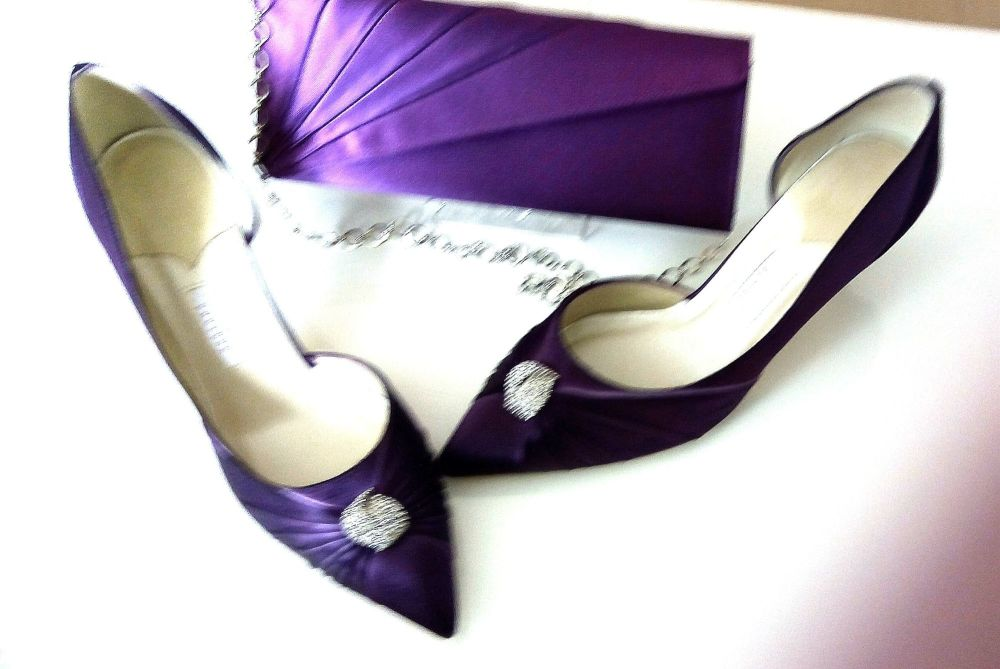 Rainbow Club occasion shoes Purple satin with crystals matching purple bag Size 6