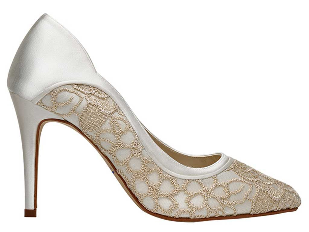 Rainbow Club Lorna ivory satin pale gold tulle embroidery shoes with bag size 6