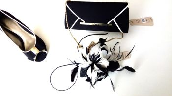 Jacques Vert stunning black|gold shoes fascinator|feather headband bag size 7