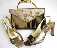 Designer Renata shoes matching bag brocatto beige peeptoe size5