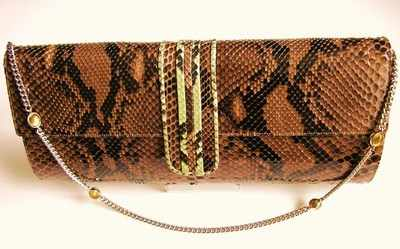 Designer bag Gina London browns/lime snakeskin jewel chain.