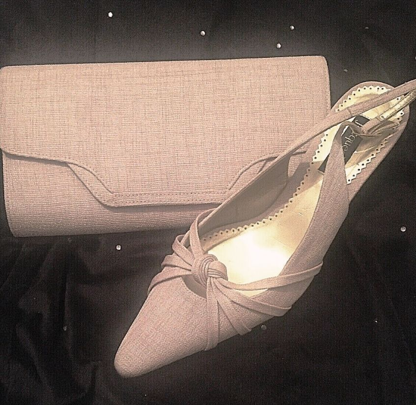 Jacques Vert beige canvas fabric sling back shoes with matching bag size 6.5 -7