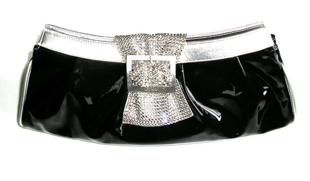 Gina evening bag black patent with silver trim  crystals buckle