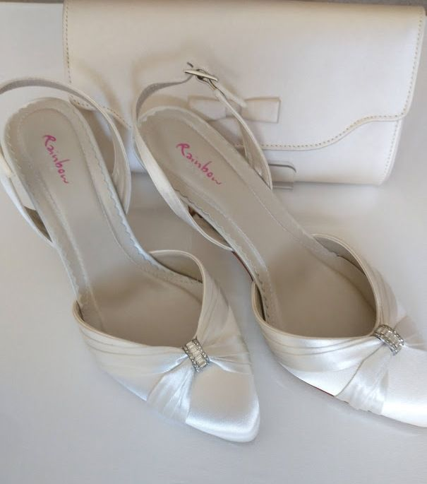 Rainbow Club mother bride occasions ivory satin shoes matching bag size 4