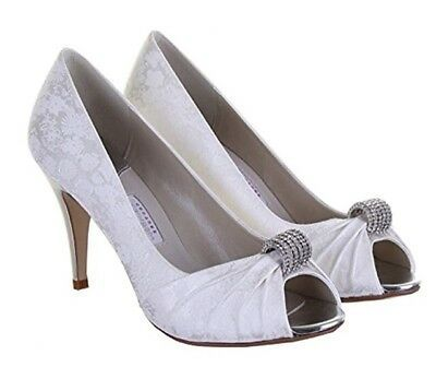 Rainbow Couture  ivory shoes matching bag diamonte embellishment peeptoe size 7