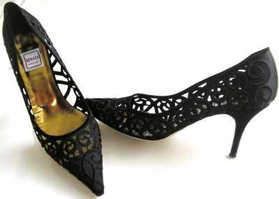 Renata designer shoes black silk mother of the bride size 6
