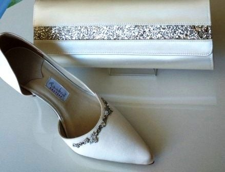 Mother bride Rainbow Couture shoes matching bag Ivory size 5
