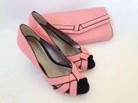 Jacques Vert wedding occasions coral with black peeptoe matching bag size 5
