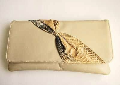 Designer large clutch bag by Adrian Gold London beige leather