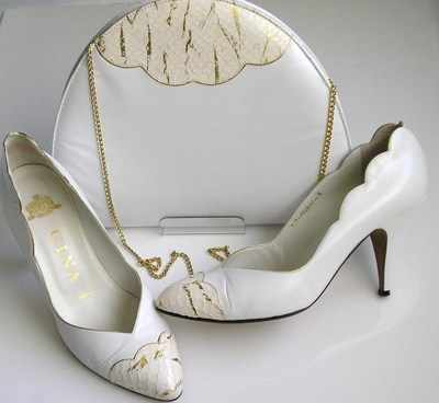 Gina designer shoes white/gold kid matching bag size 5 used