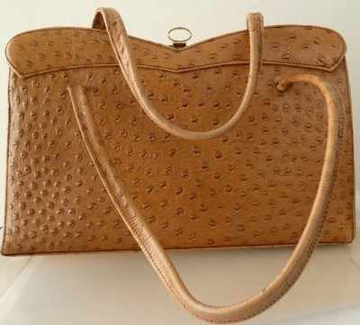 Ackery designer ostrich leather bag large twin handle.vintage .