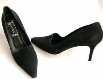 Gina London shoes dark navy nubuck stiletto courts size 6