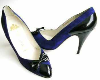 Gina  shoes sapphire blue and black courts size 4