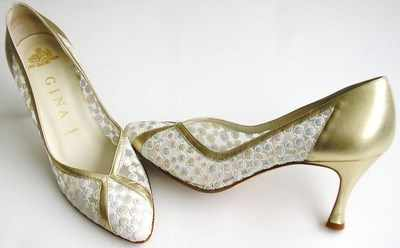 Gina designer shoes pastels/gold wedding shoes size 5
