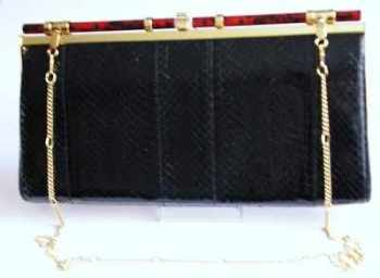 Ackery bag shoulder/clutch black snakeskin vintage