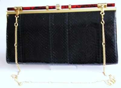 Designer Ackery bag shoulder/clutch.black snakeskin.vintage