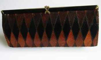 Ackery designer clutch bag vintage brown chestnut snakeskin