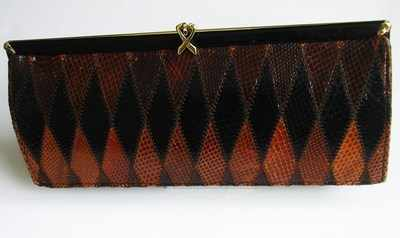Ackery designer clutch bag. vintage brown/chestnut snakeskin